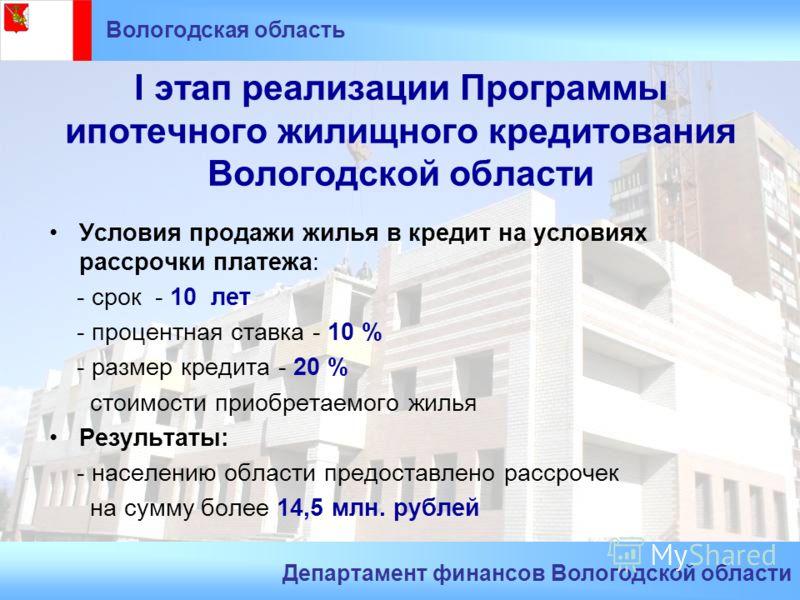I этап реализации Программы ипотечного жилищного кредитования Вологодской области Условия продажи жилья в кредит на условиях рассрочки платежа: - срок - 10 лет - процентная ставка - 10 % - размер кредита - 20 % стоимости приобретаемого жилья Результа