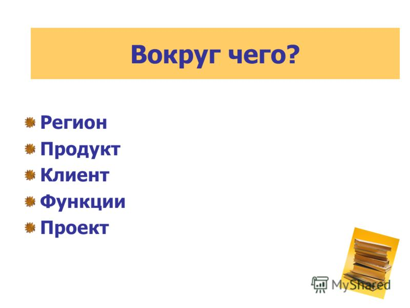 Регион Продукт Клиент Функции Проект Вокруг чего?