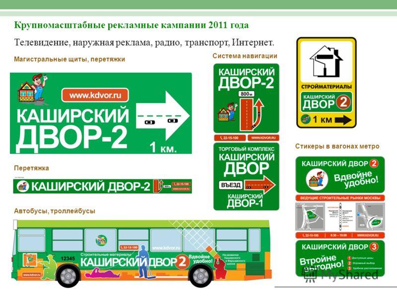 Крупномасштабные рекламные кампании 2011 года Телевидение, наружная реклама, радио, транспорт, Интернет. Автобусы, троллейбусы Магистральные щиты, перетяжки Система навигации Стикеры в вагонах метро Перетяжка