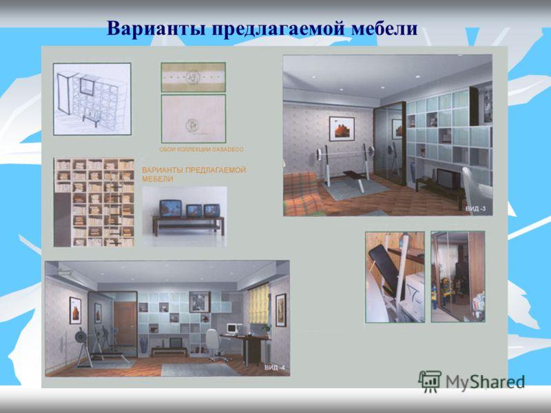 Варианты предлагаемой мебели
