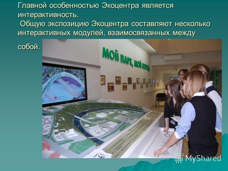 Главной особенностью Экоцентра является интерактивность. Общую экспозицию Экоцентра составляют несколько интерактивных модулей, взаимосвязанных между собой.