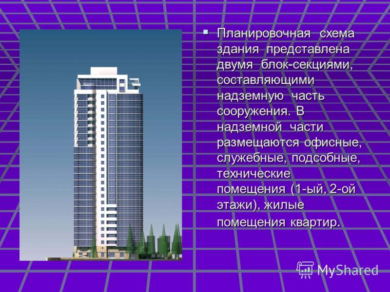 Планировочная схема здания представлена двумя блок-секциями, составляющими надземную часть сооружения. В надземной части размещаются офисные, служебные, подсобные, технические помещения (1-ый, 2-ой этажи), жилые помещения квартир. Планировочная схема