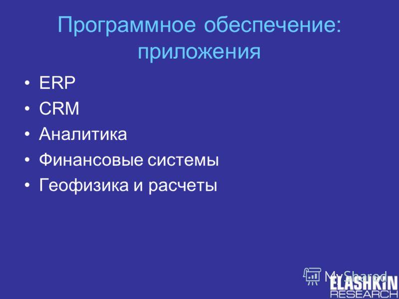 Программное обеспечение: приложения ERP CRM Аналитика Финансовые системы Геофизика и расчеты