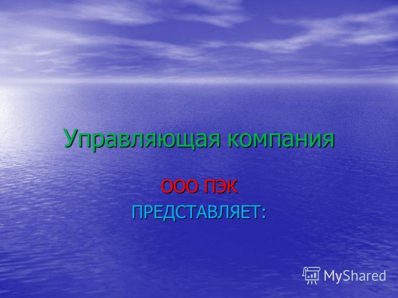 Управляющая компания ООО ПЭК ПРЕДСТАВЛЯЕТ: