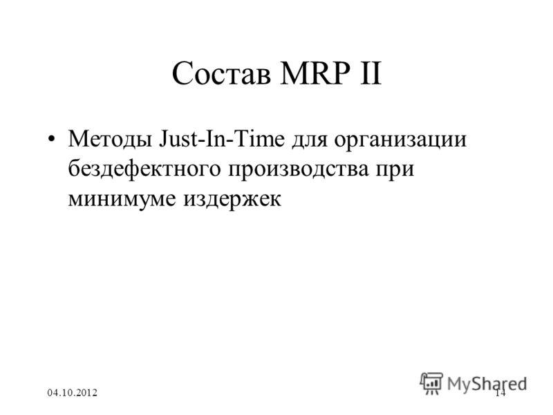 17.08.201214 Состав MRP II Методы Just-In-Time для организации бездефектного производства при минимуме издержек