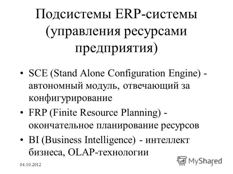 17.08.20123 Подсистемы ERP-системы (управления ресурсами предприятия) SCE (Stand Alone Configuration Engine) - автономный модуль, отвечающий за конфигурирование FRP (Finite Resource Planning) - окончательное планирование ресурсов BI (Business Intelli