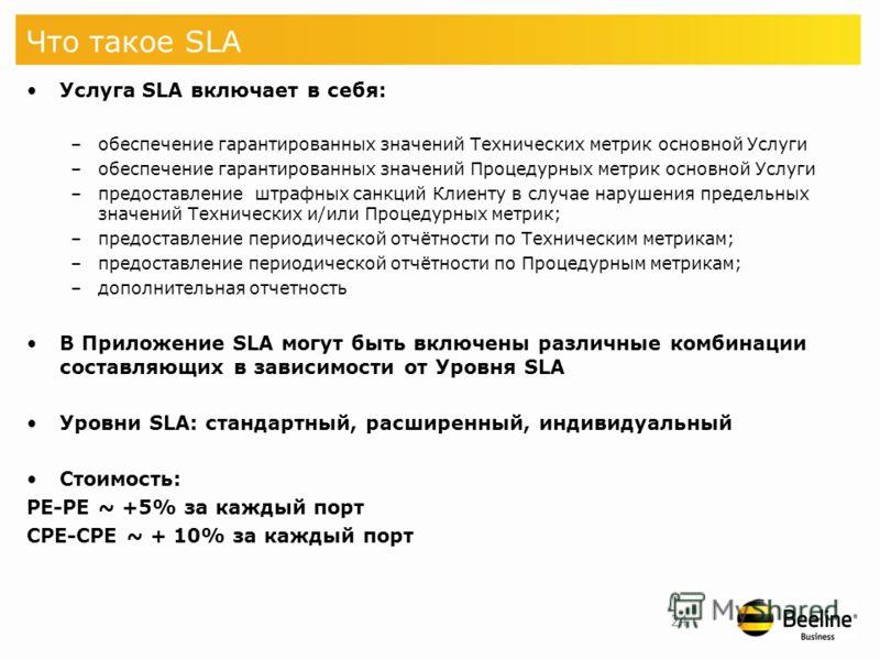 Услуга SLA для IP VPN Service Level Agreement Гарантии качества для услуг передачи данных