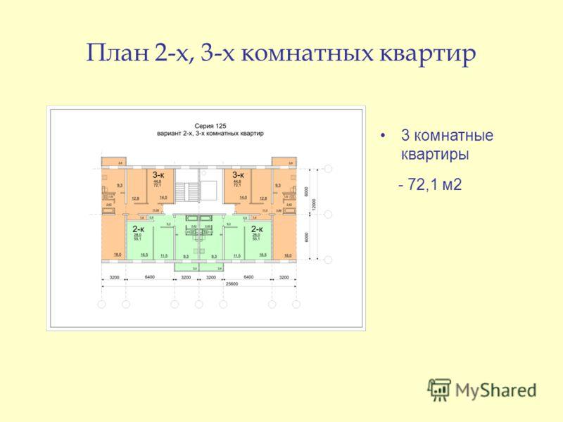 План 2-х, 3-х комнатных квартир 3 комнатные квартиры - 72,1 м2