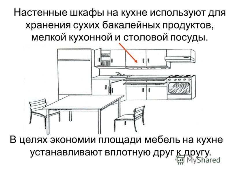 Настенные шкафы на кухне используют для хранения сухих бакалейных продуктов, мелкой кухонной и столовой посуды. В целях экономии площади мебель на кухне устанавливают вплотную друг к другу.