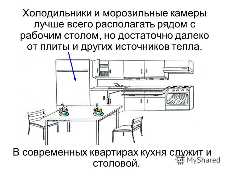Холодильники и морозильные камеры лучше всего располагать рядом с рабочим столом, но достаточно далеко от плиты и других источников тепла. В современных квартирах кухня служит и столовой.