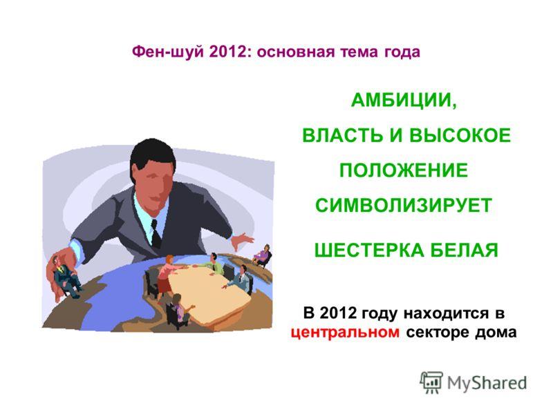 Фен-шуй 2012: основная тема года АМБИЦИИ, ВЛАСТЬ И ВЫСОКОЕ ПОЛОЖЕНИЕ СИМВОЛИЗИРУЕТ ШЕСТЕРКА БЕЛАЯ В 2012 году находится в центральном секторе дома