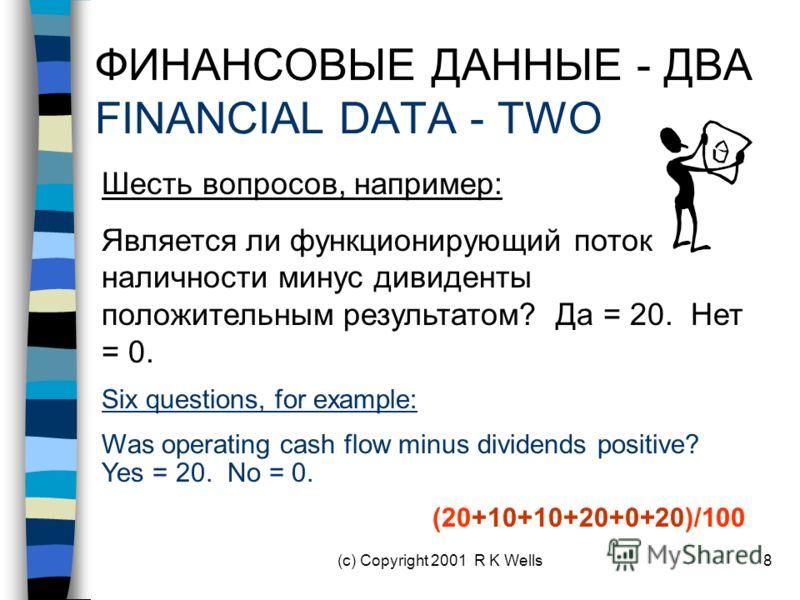 (c) Copyright 2001 R K Wells8 ФИНАНСОВЫЕ ДАННЫЕ - ДВА FINANCIAL DATA - TWO Шесть вопросов, например: Является ли функционирующий поток наличности минус дивиденты положительным результатом? Да = 20. Нет = 0. Six questions, for example: Was operating c
