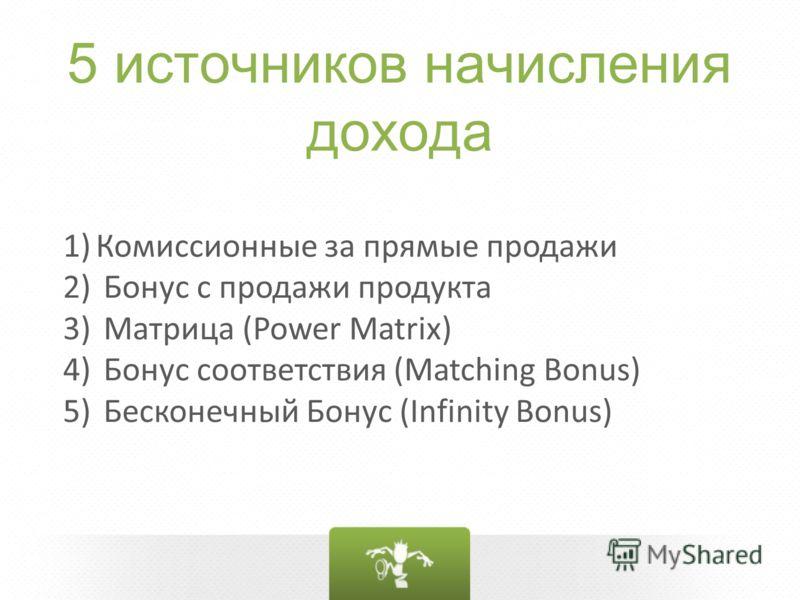 5 источников начисления дохода 1)Комиссионные за прямые продажи 2) Бонус с продажи продукта 3) Матрица (Power Matrix) 4) Бонус соответствия (Matching Bonus) 5) Бесконечный Бонус (Infinity Bonus)