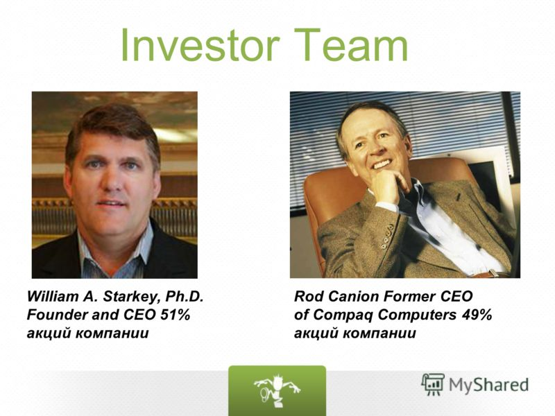 Investor Team William A. Starkey, Ph.D. Founder and CEO 51% акций компании Rod Canion Former CEO of Compaq Computers 49% акций компании