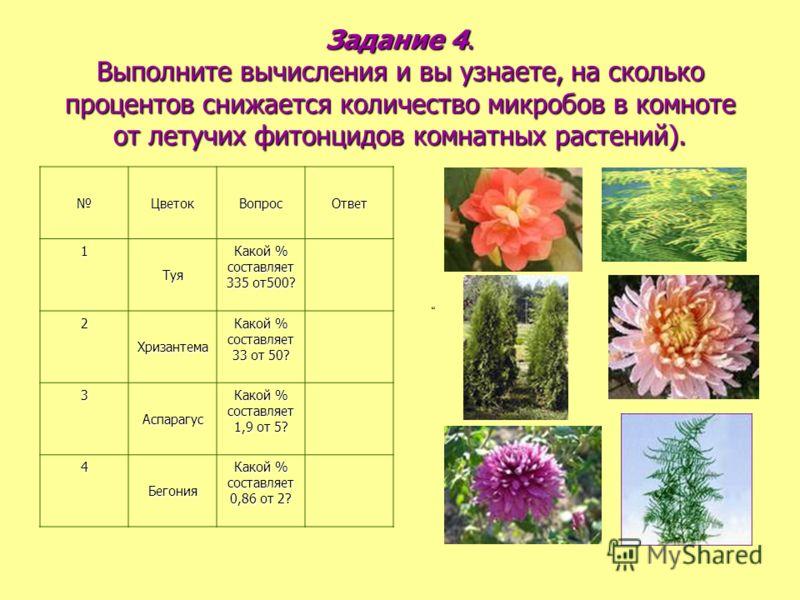 Задание 4. Выполните вычисления и вы узнаете, на сколько процентов снижается количество микробов в комноте от летучих фитонцидов комнатных растений). ЦветокВопросОтвет1Туя Какой % составляет 335 от500? 2Хризантема Какой % составляет 33 от 50? 3Аспара