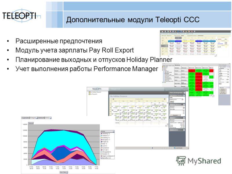 Copyright Teleopti AB Дополнительные модули Teleopti CCC Расширенные предпочтения Модуль учета зарплаты Pay Roll Export Планирование выходных и отпусков Holiday Planner Учет выполнения работы Performance Manager