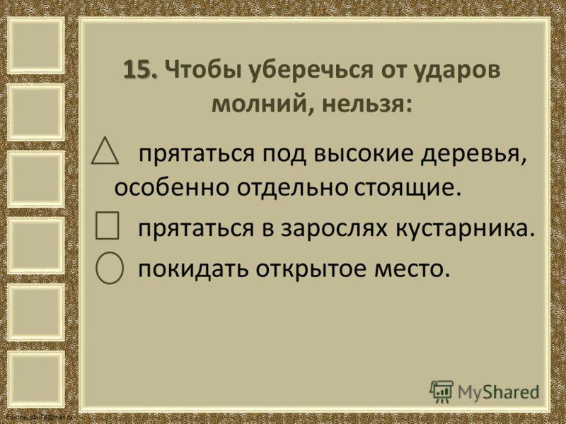 FokinaLida.75@mail.ru 15. 15. Чтобы уберечься от ударов молний, нельзя: прятаться под высокие деревья, особенно отдельно стоящие. прятаться в зарослях кустарника. покидать открытое место.