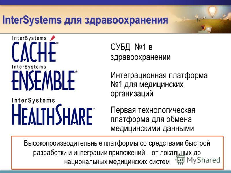 InterSystems для здравоохранения Интеграционная платформа 1 для медицинских организаций Первая технологическая платформа для обмена медицинскими данными СУБД 1 в здравоохранении Высокопроизводительные платформы со средствами быстрой разработки и инте
