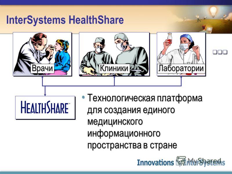 InterSystems HealthShare Технологическая платформа для создания единого медицинского информационного пространства в стране Технологическая платформа для создания единого медицинского информационного пространства в стране ВрачиКлиникиЛаборатории
