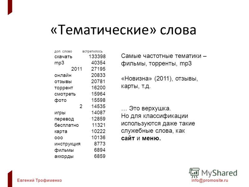 Евгений Трофименкоinfo@promosite.ru «Тематические» слова Самые частотные тематики – фильмы, торренты, mp3 «Новизна» (2011), отзывы, карты, т.д. … Это верхушка. Но для классификации используются даже такие служебные слова, как сайт и меню. доп. словов