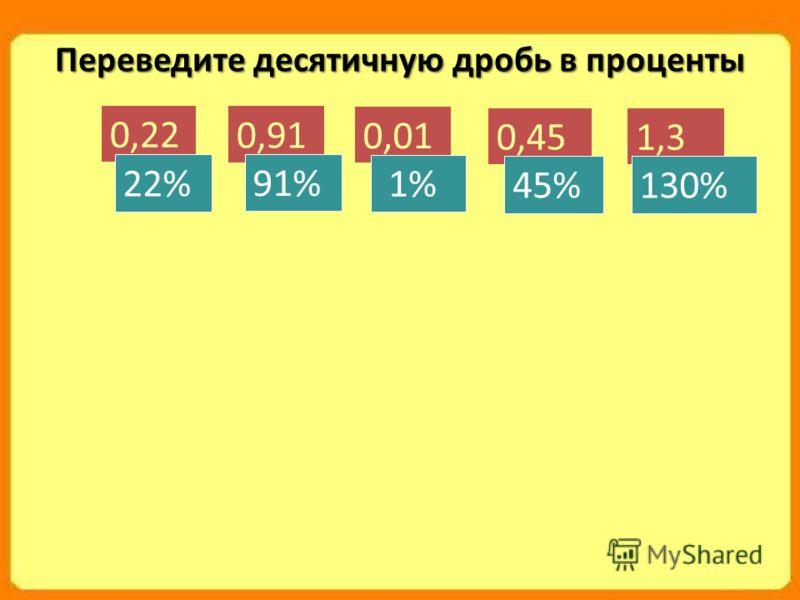 Переведите десятичную дробь в проценты 0,22 22% 0,91 91% 0,01 1% 0,45 45% 1,3 130%