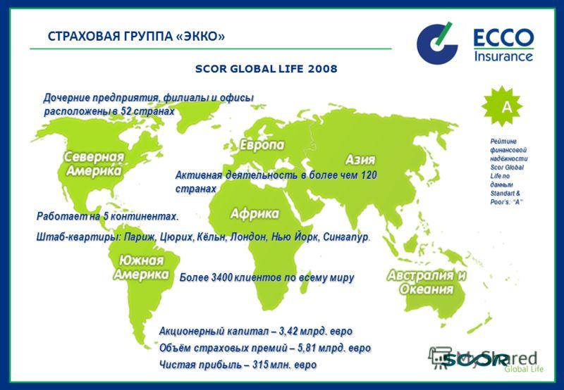 SCOR GLOBAL LIFE 2008 Акционерный капитал – 3,42 млрд. евро Объём страховых премий – 5,81 млрд. евро Чистая прибыль – 315 млн. евро Работает на 5 континентах. Штаб-квартиры: Париж, Цюрих, Кёльн, Лондон, Нью Йорк, Сингапур. Более 3400 клиентов по всем