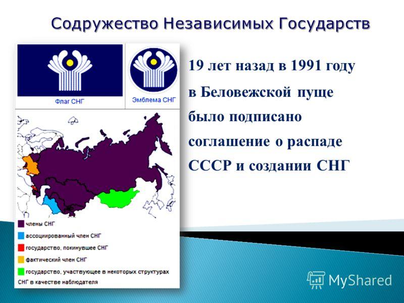 19 лет назад в 1991 году в Беловежской пуще было подписано соглашение о распаде СССР и создании СНГ