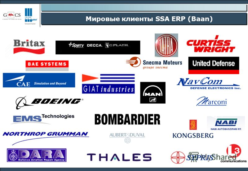 Мировые клиенты SSA ERP (Baan)