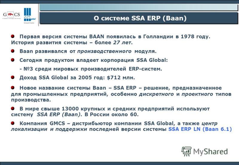 О системе SSA ERP (Baan) Первая версия системы BAAN появилась в Голландии в 1978 году. История развития системы – более 27 лет. Baan развивался от производственного модуля. Сегодня продуктом владеет корпорация SSA Global: - 3 среди мировых производит