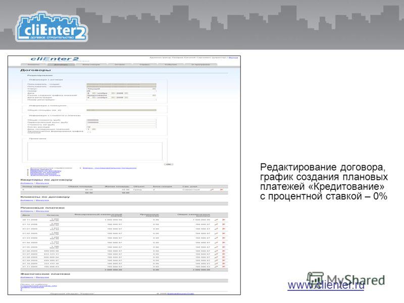 Редактирование договора, график создания плановых платежей «Кредитование» с процентной ставкой – 0% www.clienter.ru
