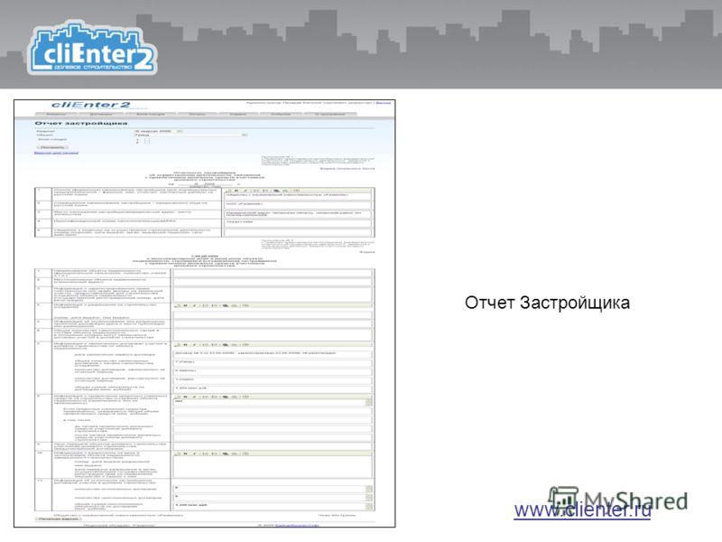 Отчет Застройщика www.clienter.ru