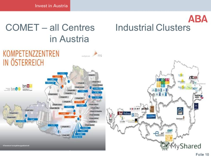Folie 10 COMET – all Centres Industrial Clusters in Austria