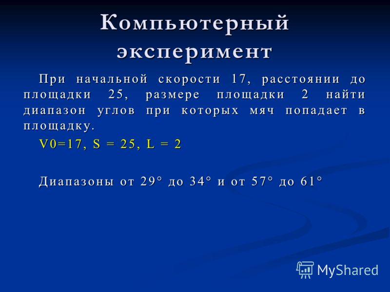 Компьютерный эксперимент При начальной скорости 17, расстоянии до площадки 25, размере площадки 2 найти диапазон углов при которых мяч попадает в площадку. V0=17, S = 25, L = 2 Диапазоны от 29° до 34° и от 57° до 61°