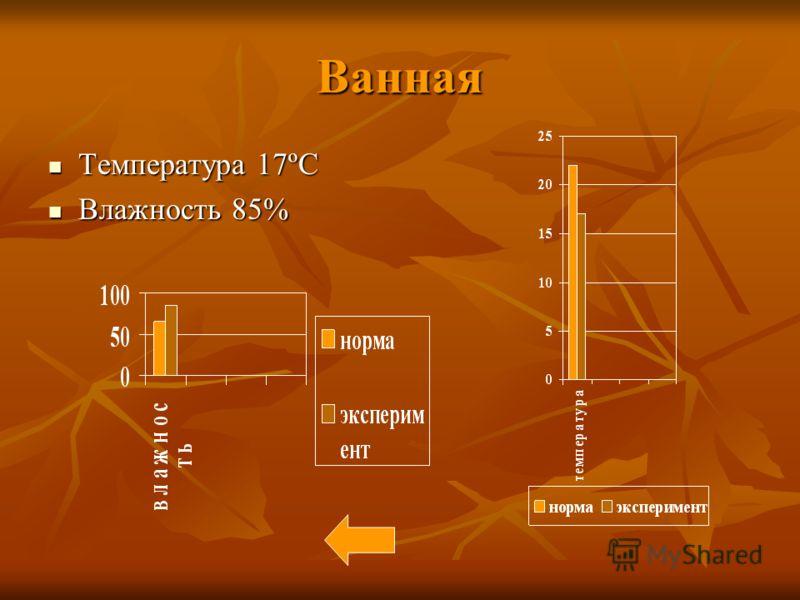 Ванная Температура 17ºC Температура 17ºC Влажность 85% Влажность 85%