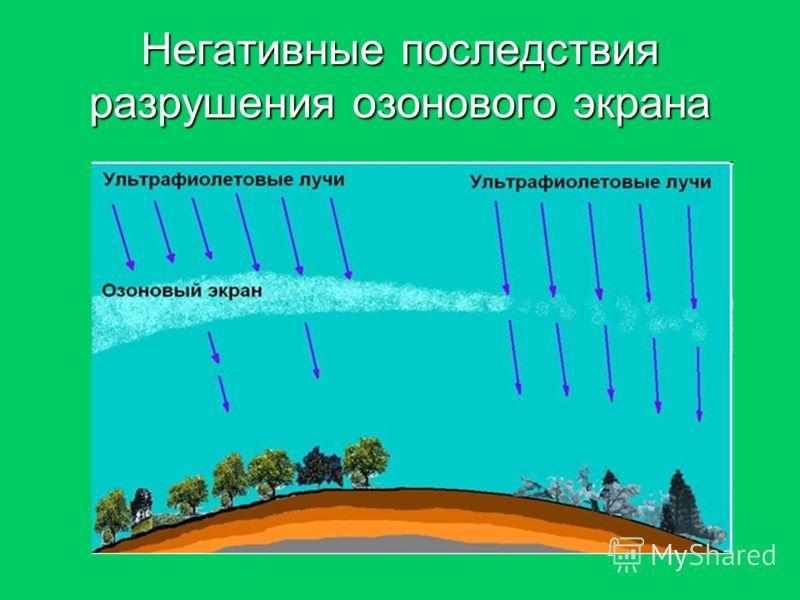 Негативные последствия разрушения озонового экрана