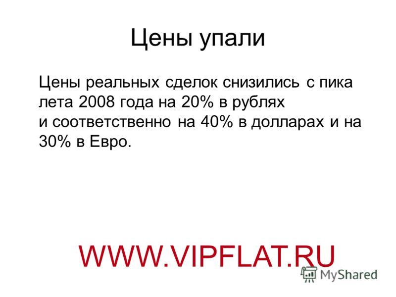 Цены упали Цены реальных сделок снизились с пика лета 2008 года на 20% в рублях и соответственно на 40% в долларах и на 30% в Евро. WWW.VIPFLAT.RU