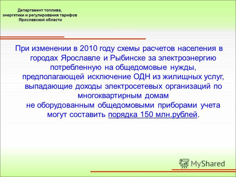 При изменении в 2010 году схемы расчетов населения в городах Ярославле и Рыбинске за электроэнергию потребленную на общедомовые нужды, предполагающей исключение ОДН из жилищных услуг, выпадающие доходы электросетевых организаций по многоквартирным до