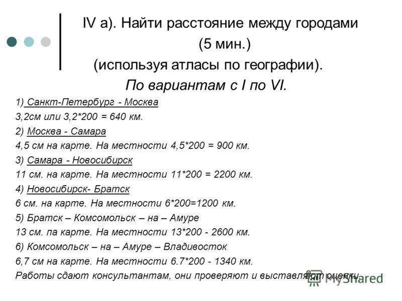 IV а). Найти расстояние между городами (5 мин.) (используя атласы <a href='http://www.myshared.ru/theme/prezentatsii-po-geografii/' title='по географи