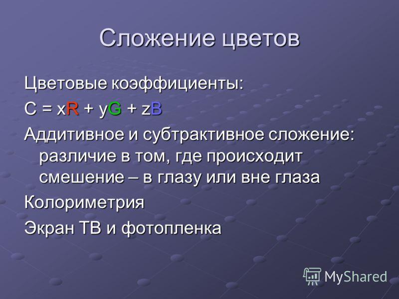 Сложение цветов Цветовые коэффициенты: С = xR + yG + zB Аддитивное и субтрактивное сложение: различие в том, где происходит смешение – в глазу или вне глаза Колориметрия Экран ТВ и фотопленка