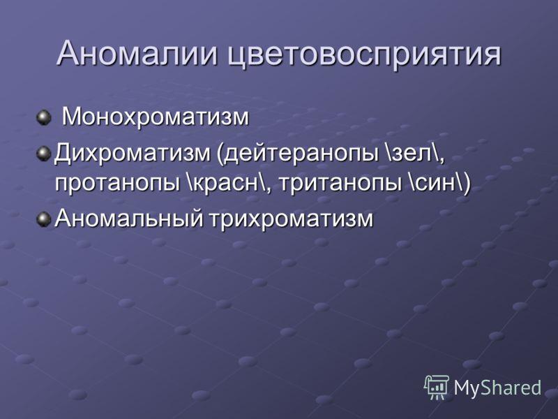 Аномалии цветовосприятия Монохроматизм Монохроматизм Дихроматизм (дейтеранопы \зел\, протанопы \красн\, тританопы \син\) Аномальный трихроматизм