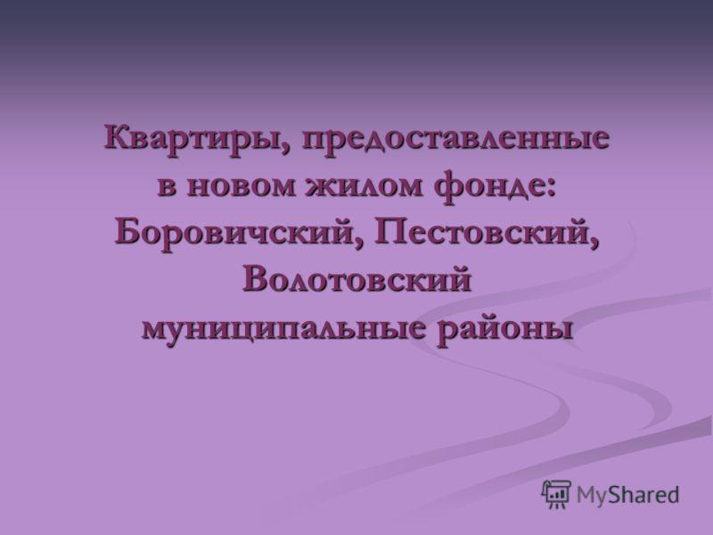 К вартиры, предоставленные в новом жилом фонде: Боровичский, Пестовский, Волотовский муниципальные районы