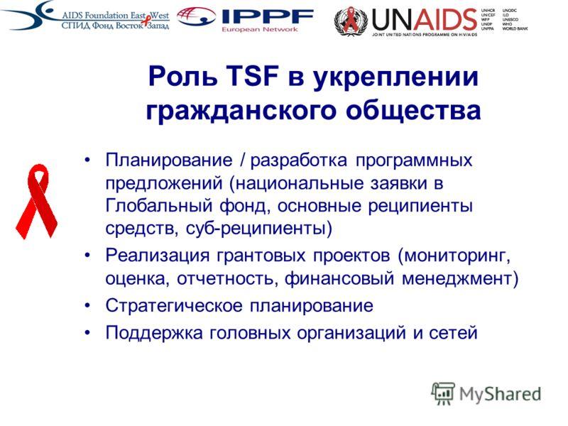 Планирование / разработка программных предложений (национальные заявки в Глобальный фонд, основные реципиенты средств, суб-реципиенты) Реализация грантовых проектов (мониторинг, оценка, отчетность, финансовый менеджмент) Стратегическое планирование П