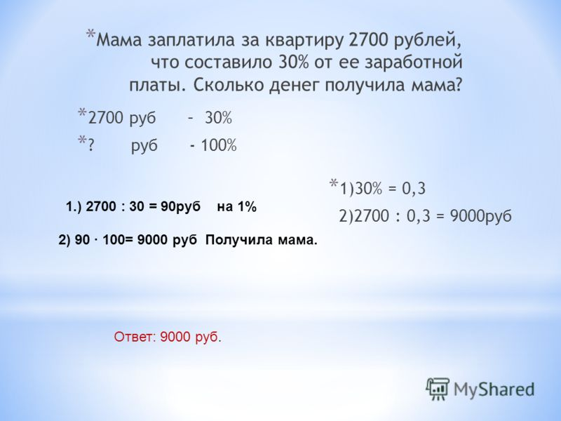 * Мама заплатила за квартиру 2700 рублей, что составило 30% от ее заработной платы. Сколько денег получила мама? * 2700 руб – 30% * ? руб - 100% * 1)30% = 0,3 2)2700 : 0,3 = 9000руб 1.) 2700 : 30 = 90руб на 1% 2) 90 · 100= 9000 руб Получила мама. Отв