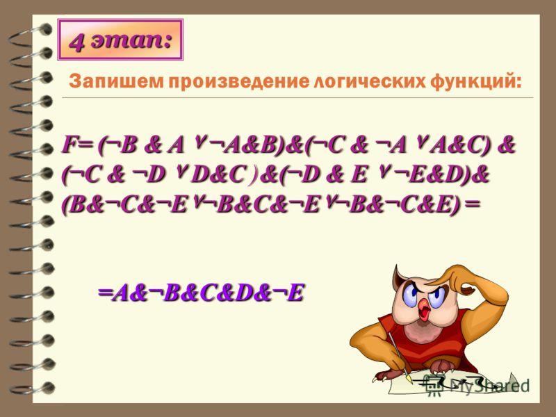 Запишем произведение логических функций: 4 этап: F= (¬B & A ۷ ¬A&B)&(¬C & ¬A ۷ A&C) & (¬C & ¬D ۷ D&C&(¬D & E ۷ ¬E&D)& (B&¬C&¬E۷¬B&C&¬E۷¬B&¬C&E) = F= (¬B & A ۷ ¬A&B)&(¬C & ¬A ۷ A&C) & (¬C & ¬D ۷ D&C )&(¬D & E ۷ ¬E&D)& (B&¬C&¬E۷¬B&C&¬E۷¬B&¬C&E) = =A&¬B