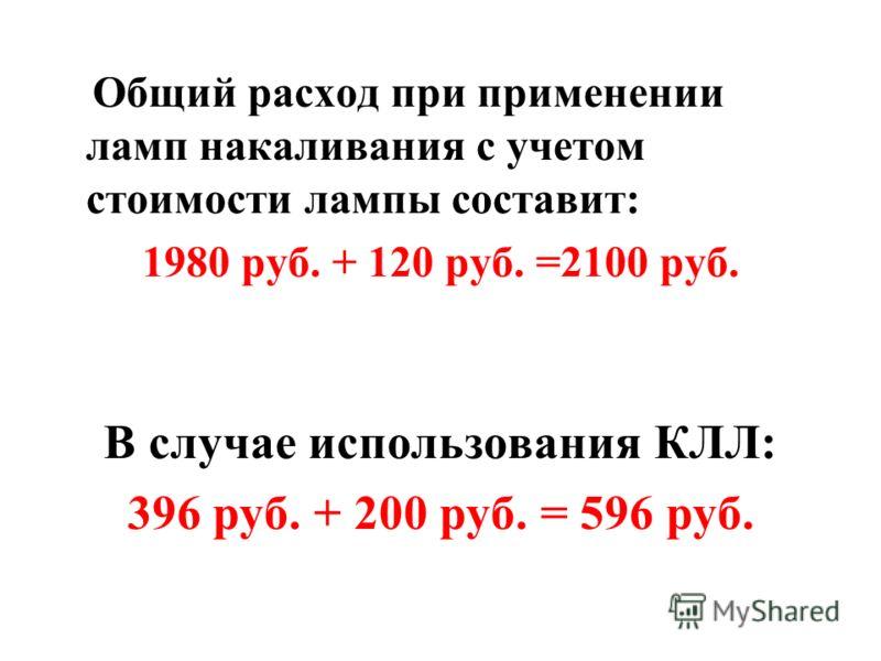 Общий расход при применении ламп накаливания с учетом стоимости лампы составит: 1980 руб. + 120 руб. =2100 руб. В случае использования КЛЛ: 396 руб. + 200 руб. = 596 руб.