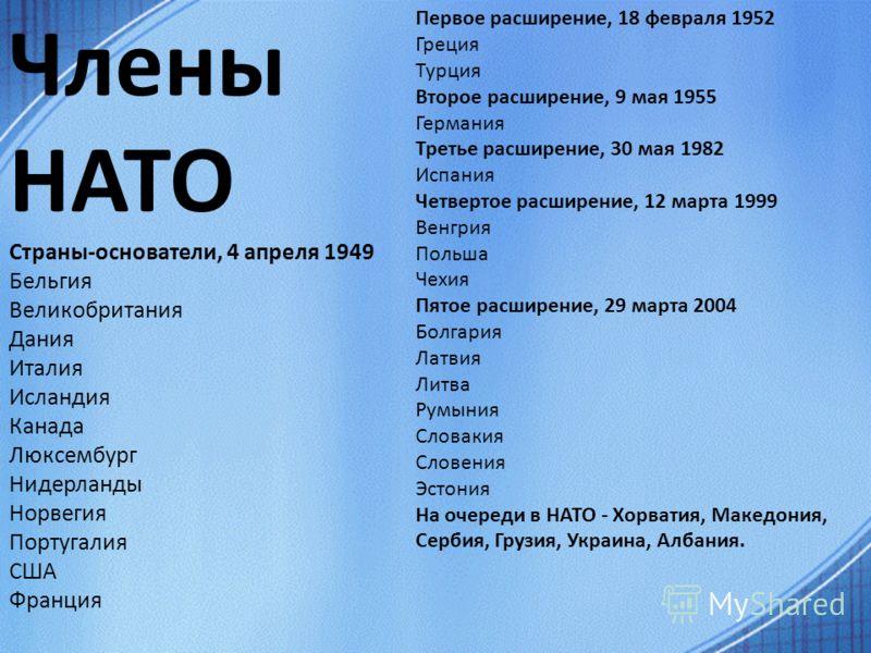 Члены нато страны основатели 4 апреля