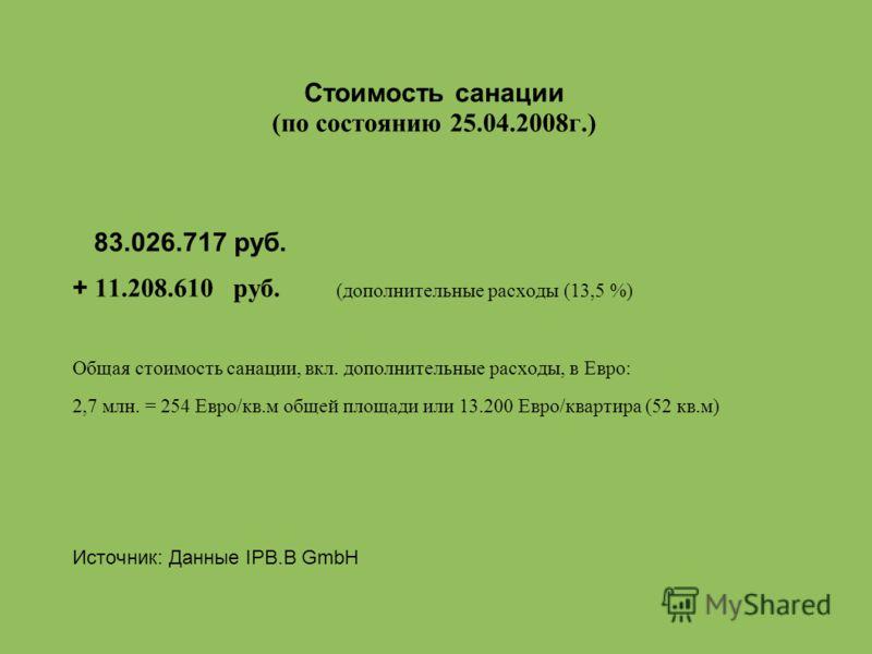 Стоимость санации (по состоянию 25.04.2008г.) 83.026.717 руб. + 11.208.610 руб. (дополнительные расходы (13,5 %) Общая стоимость санации, вкл. дополнительные расходы, в Евро: 2,7 млн. = 254 Евро/кв.м общей площади или 13.200 Евро/квартира (52 кв.м) И