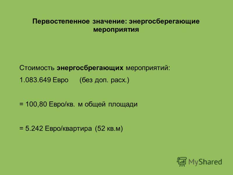 Первостепенное значение: энергосберегающие мероприятия Стоимость энергосбрегающих мероприятий: 1.083.649 Евро (без доп. расх.) = 100,80 Евро/кв. м общей площади = 5.242 Евро/квартира (52 кв.м)