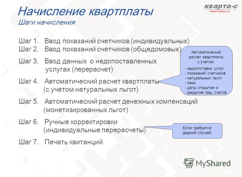 слайд 56 Начисление квартплаты Шаги начисления Шаг 1. Ввод показаний счетчиков (индивидуальных) Шаг 2. Ввод показаний счетчиков (общедомовых) Шаг 3. Ввод данных о недопоставленных услугах (перерасчет) Шаг 4. Автоматический расчет квартплаты (c учетом
