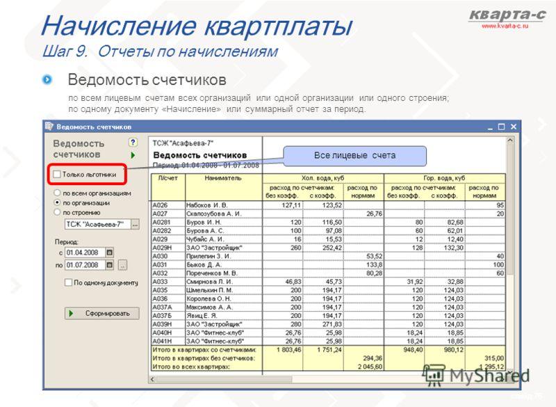 слайд 76 Начисление квартплаты Шаг 9. Отчеты по начислениям по всем лицевым счетам всех организаций или одной организации или одного строения; по одному документу «Начисление» или суммарный отчет за период. Ведомость счетчиков Все лицевые счета